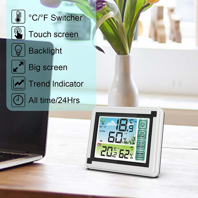 WP6950 433MHz Indoor Outdoor Touch Screen Wireless Weather Station Color LCD HTN Display IPX4 Hygrometer Thermometer