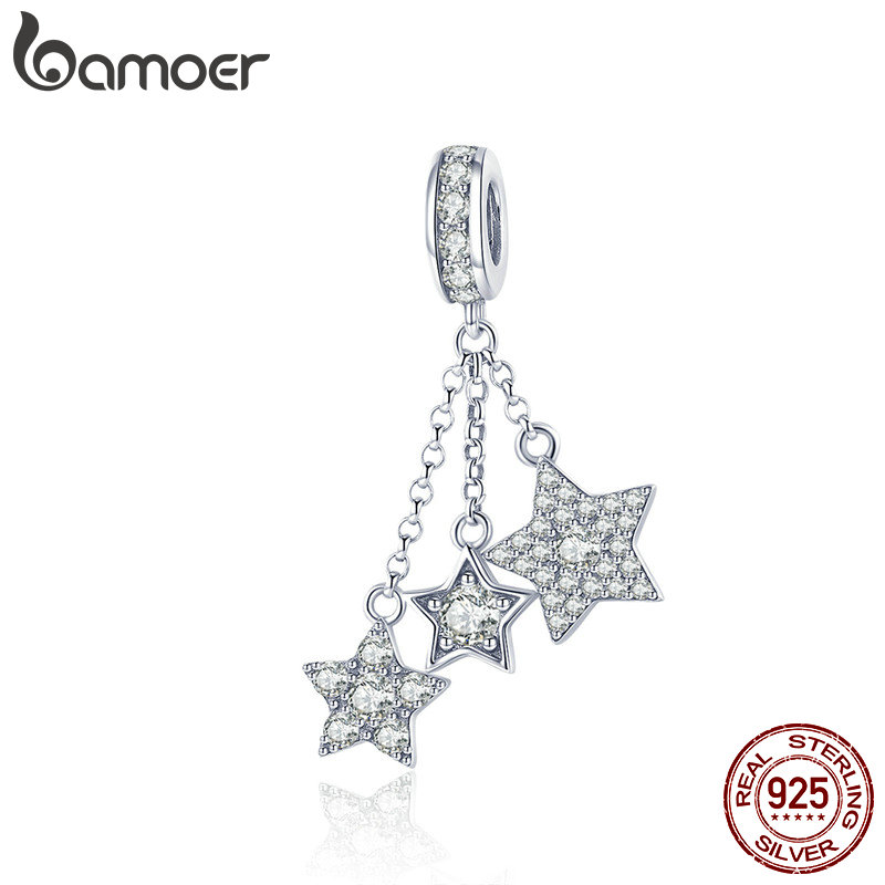 BAMOER Genuine 925 Sterling Silver Sparkling Star Meteor Long Chain Pendant Clear CZ Charm fit Charm Bracelet DIY Jewelry SCC881