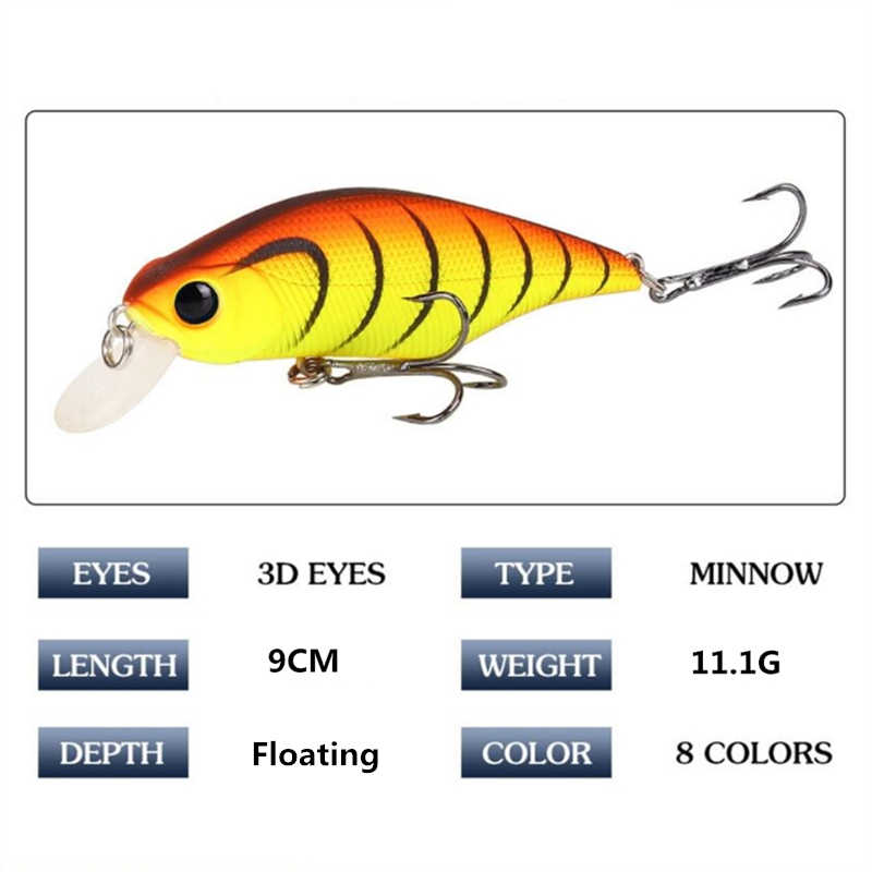 1Pcsคุณภาพสูงเหยื่อตกปลาMinnow 90Mm 11G Crankbait Wobblersตกปลา3Dตาประดิษฐ์Hard Pesca Bass tackle