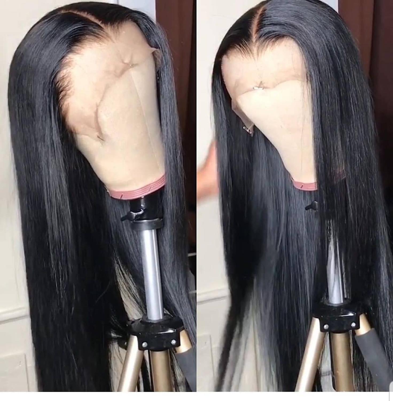 Dentelle avant perruques de cheveux humains pour les femmes noires brésilien naturel tout droit courte longue dentelle frontale afro perruque 28 30 pouces preplumé - 3
