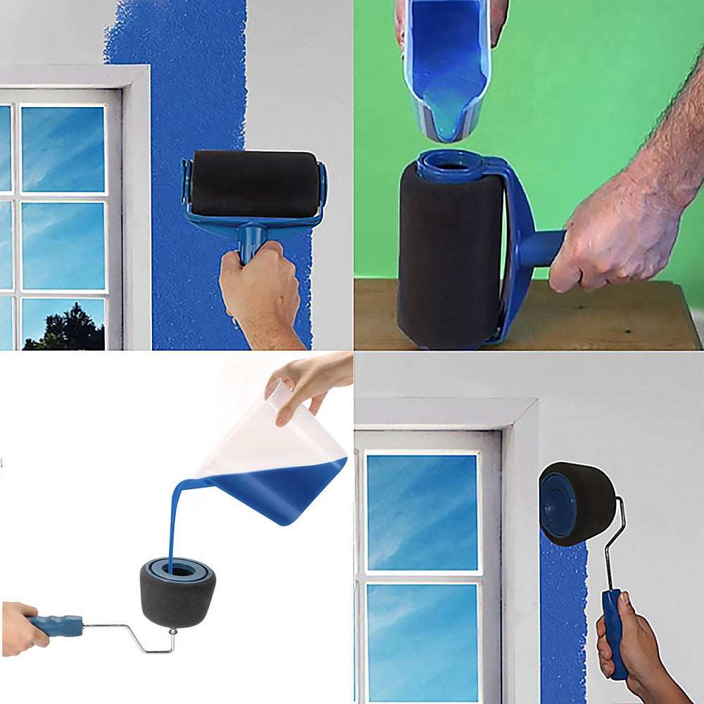 8pcs/Set Multifunction Paint Pro Roller Brush Tools Kit Set Paint Roller Set Room Wall Painting Brushes Set Home Repack Tool