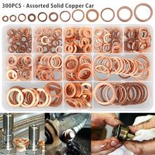 300 sztuk pełna miedź podkładka płaski pierścień uszczelka korek spustowy uszczelnienie olejowe łączniki akcesoria sprzętowe tanie tanio CN (pochodzenie) Washer 120 200 250 280pcs Copper As picture shows M5 6 8 10 12 14 16 18 Copper washer