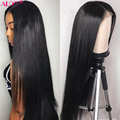 Прямые парики из человеческих волос 13x4, парик на сетке спереди, средняя часть, бразильские Прямые предварительно выщипанные парики без повр...