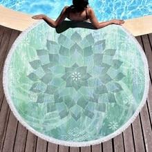 Hot Indian Yoga Mat Round Beach Towel Boho Tassel Mandala Lotus Tapestry Toalla Floral Blanket 150cm mandala lotus lotus printed long fringe round beach towel