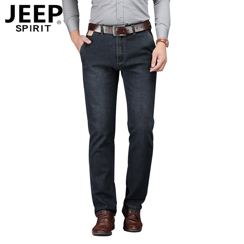 JEEP SPIRIT Brand Denim Trousers Men Casual Mid-waist Straight Autumn Jeans Men Plus Size 30-44 Black And Blue Jeans Hombre