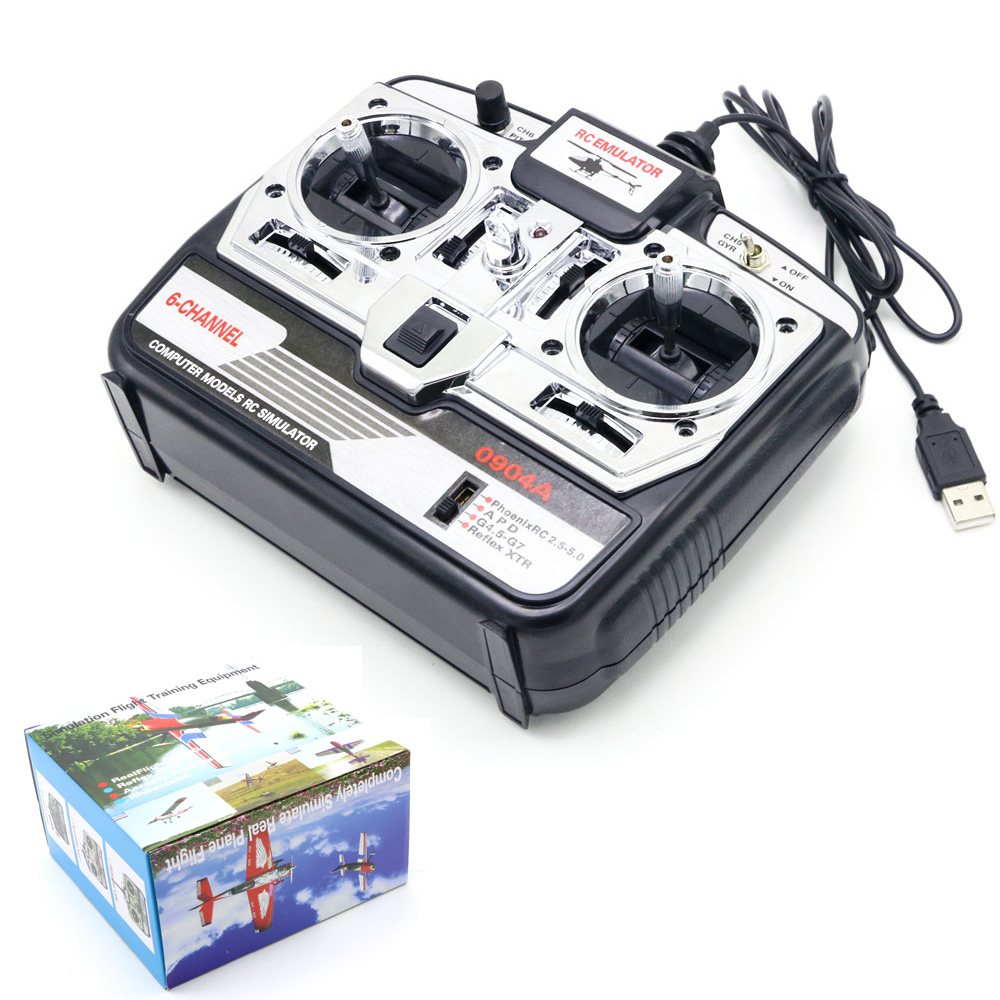 6CH RC Flight Simulator JTL-0904A Support Realflight G7 Phoenix 5.0 XTR Remote Control Helicopter Fixed-wing Drone (MODE2)
