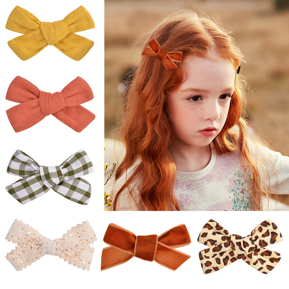 1Pc Cotton Linen Leopard Print Hair Bows With Clip Girls Barrettes For Baby S9J6