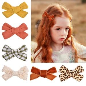 1Pc Cotton Linen Leopard Print Hair Bows With Clip For Baby Girls Plaid Hair Clips Barrettes Hairpins Headwear Hair Accessories