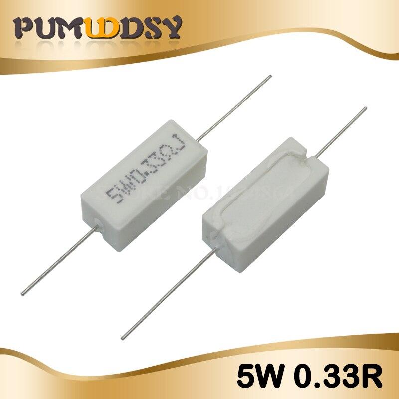 10pcs 5W 0.33 Ohm Cement Resistance 0.33R 0.33ohm