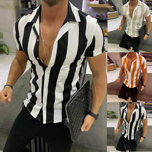 Slim Shirt Short-Sleeve Printed Stripe Fashion Men Colorful Splicing