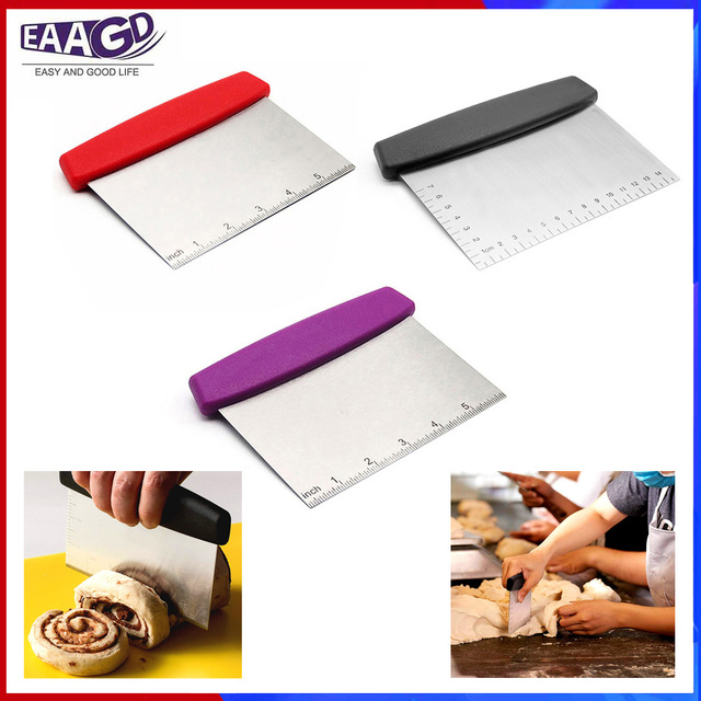 1Pcs Stainless Steel Metal Griddle Scraper Chopper - Great As Dough Cutter for Bread and Pizza Dough