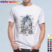 Hipster R2-D2 droid impressão azul camisetas masculinas 2019 marca nova morte guerra roupas moda droid robô projeto t camisas masculinas