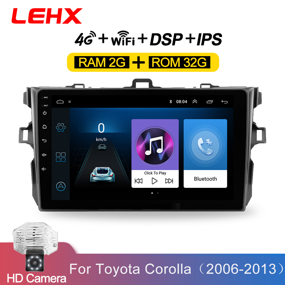 LEHX Car Android 8.1 2Din Radio Car Multimedia Player For Toyota Corolla E140 / 150 2006 2007-2009 2010 2011 2012 2013 2din dvd(China)