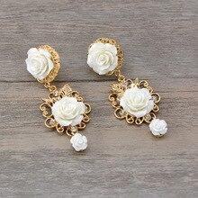 Bride Wedding Jewelry Baroque Golden flower Earrings  crystal bohemian trendy rhinestone luxury earrings