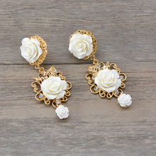 Bride Wedding Jewelry Baroque Golden flower Earrings crystal bohemian trendy rhinestone luxury earrings(China)