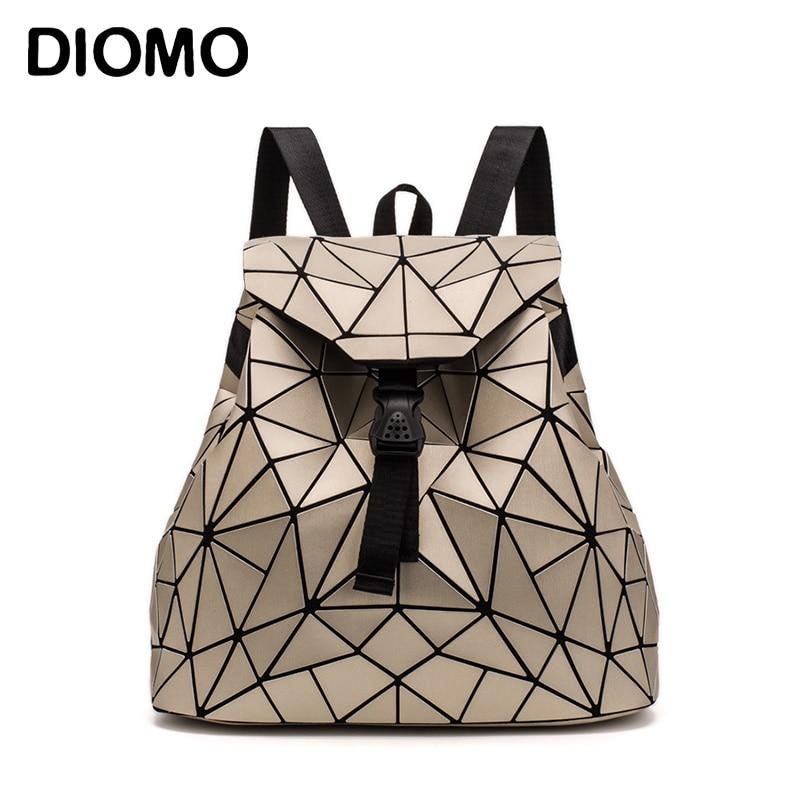 Diomo 2018 irregular geométrico triângulo lantejoulas mochila feminina bagpack moda feminina mochilas para meninas rugzak voltar pacote