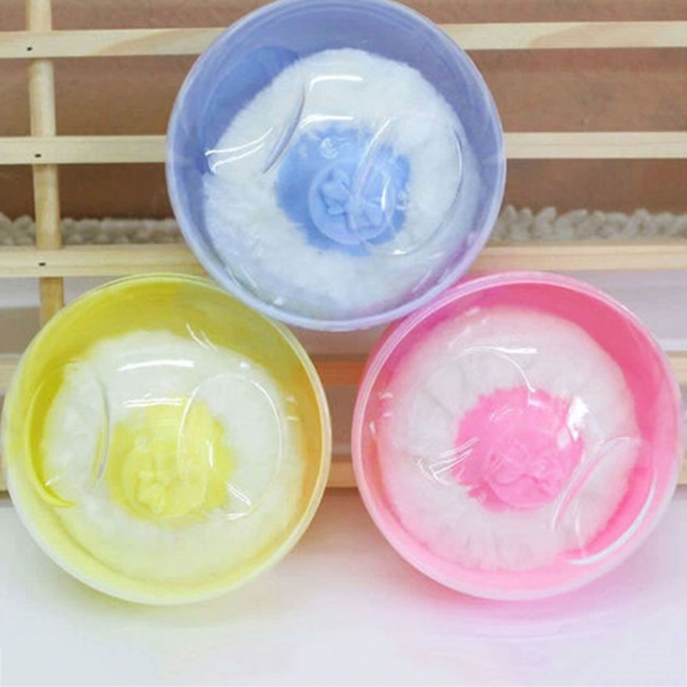 Portable Powder Puff Box Body Baby Face Talcum Powder Puff Sponge Infant Puff Box Container Case