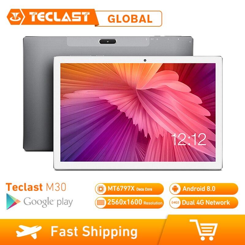 Teclast M30 Tablet PC 10.1 inch 4G Network Android 8.0 4GB RAM 128GB ROM MT6797 X27 Deca Core 2560*1600 7500mAh GPS Dual Wifi