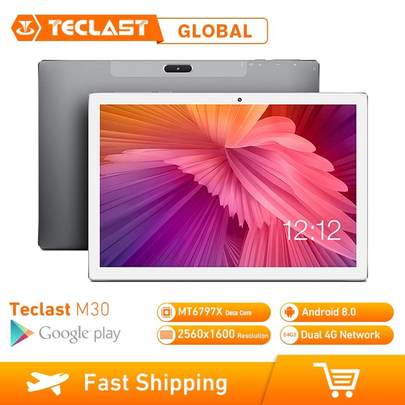 Teclast M30 tablette PC 10.1 pouces 4G réseau Android 8.0 4GB RAM 128GB ROM MT6797 X27 Deca Core 2560*1600 7500mAh GPS double Wifi