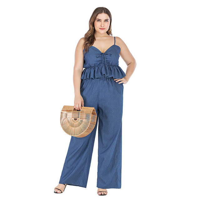 2019 new summer plus size sets for women large sleeveless loose casual denim sling tops and pants jumpsuits blue 4XL 5XL 6XL 7XL 4