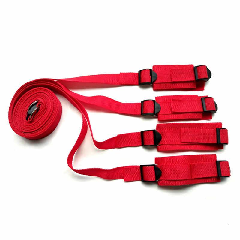 大人のおもちゃカップル手錠緊縛ボンデージで設定ベッド緊縛ボンデージ拘束ストラップシステム大人手首 & 足首袖口