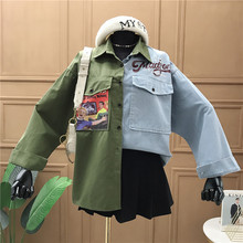 2020 Denim Patchwork Womens Tops and Blouses Casu