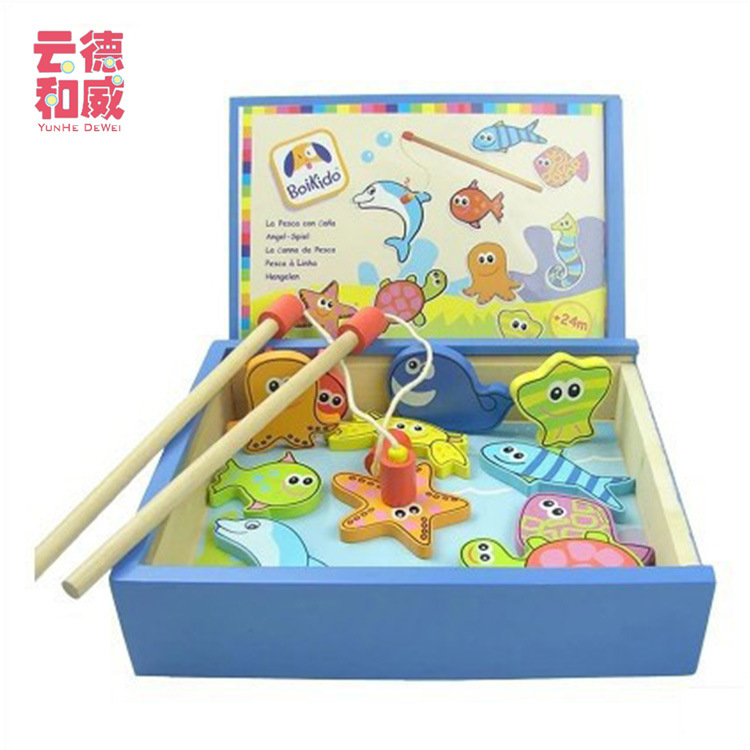 Kitten Fishing Set Wooden Magnetic Large Size Baby Educational Toy 1 3 2 Year Old Children Fishing Toys
