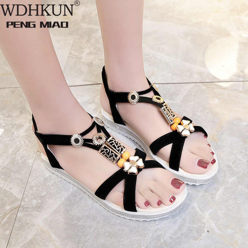2020 New Hot Sale Sandal Wanita Musim Panas Slip Pada Sepatu Peep-Toe Sepatu Roman Sandal Mujer Sandalias Wanita sandal Jepit