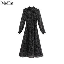 Vadim kadın lekeli siyah midi elbise ruffled yaka uzun kollu elastik bel moda rahat bir çizgi elbiseler vestidos QD096