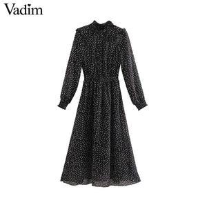 Image 1 - Vadim women polka dots black midi dress ruffled collar long sleeve elastic waist fashion casual A line dresses vestidos QD096