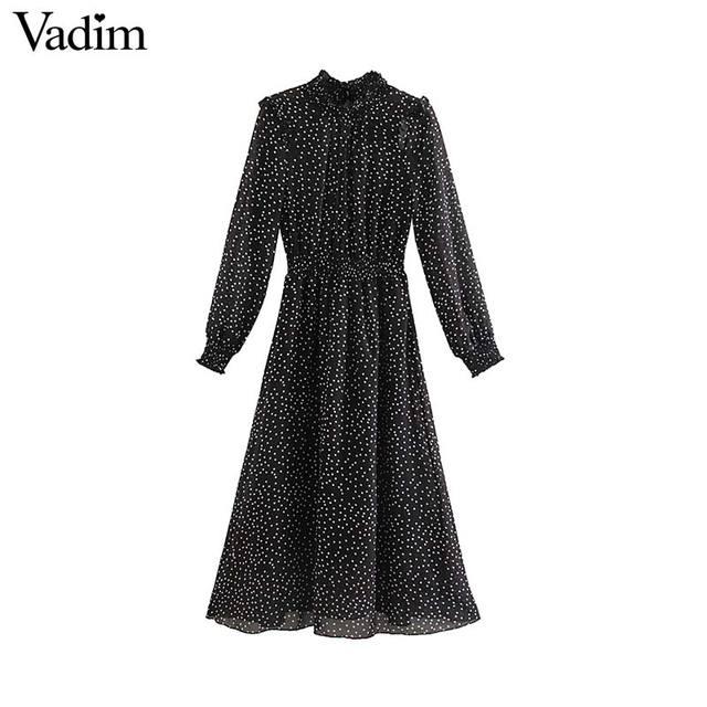 Vadim women polka dots black midi dress ruffled collar long sleeve elastic waist fashion casual A line dresses vestidos QD096
