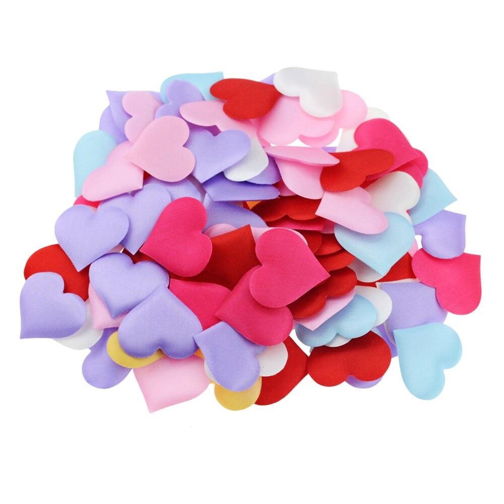 100PCS 35mm Romantic Sponge Satin Fabric Heart Petals Wedding Confetti Table Bed Heart Petals Wedding Valentine Decoration