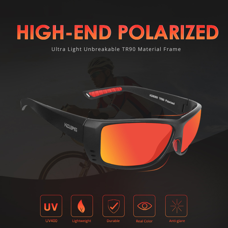 KDEAM LUXURY Fishing Sunglasses Men Sport TR90 Frame Polarized Reflective Coating Lens 5 Colors Women Eyewear UV400 KD6069