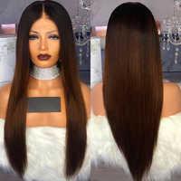 150% de densidad Ombre marrón 13*4 frente de encaje pelucas de cabello humano 1B 30 Color brasileño humano Remy Pelo Largo recto peluca con cabello de bebé