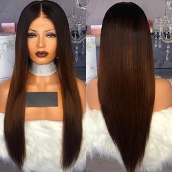 150% gęstości Ombre brązowy 13*4 koronki przodu peruki z ludzkich włosów 1B 30 kolor brazylijski Remy ludzki z długich włosów peruka z prostymi włosami z dzieckiem włosy