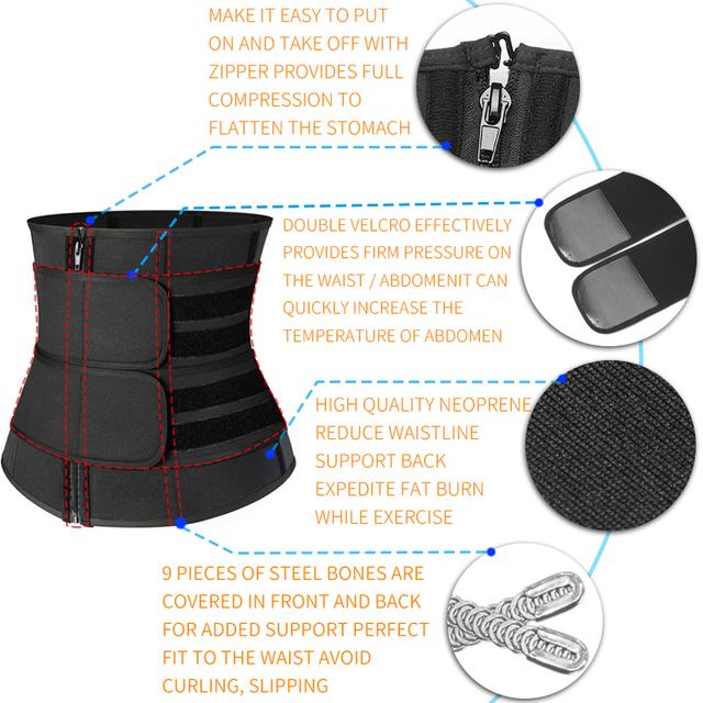 Women Slimming Sheath Waist Trainer Tummy Reducing Shapewear Belly Body Shapers Sweat Strips Sauna Corset Workout Trimmer Belts 4