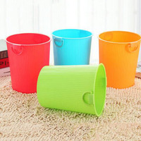 Fashion candy color household uncovered trash can Large capacity with handle sanitary bucket debris storage bin waste paper bask