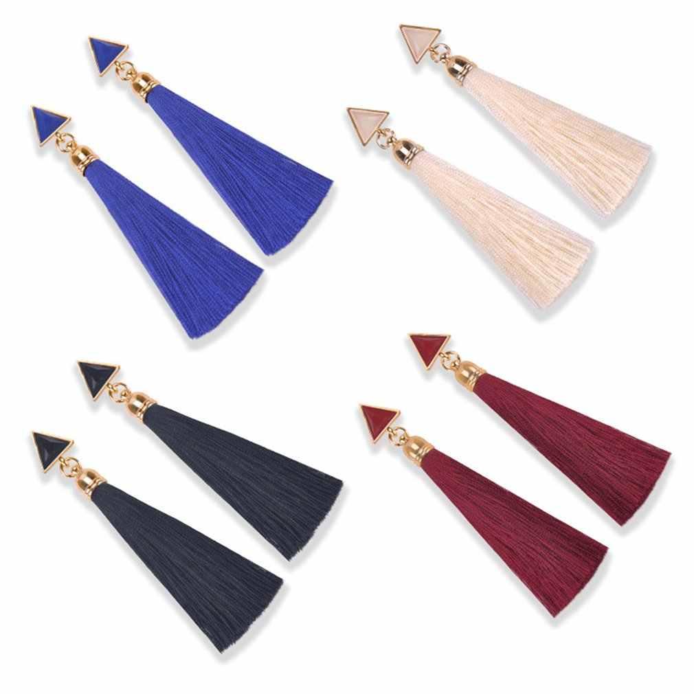 คริสตัลยาวพู่ต่างหูสีดำสีฟ้าสีแดงสีชมพูผ้าไหมผ้า DROP Dangle ต่างหูผู้หญิงเครื่องประดับสำหรับปาร์ตี้ชายหาด