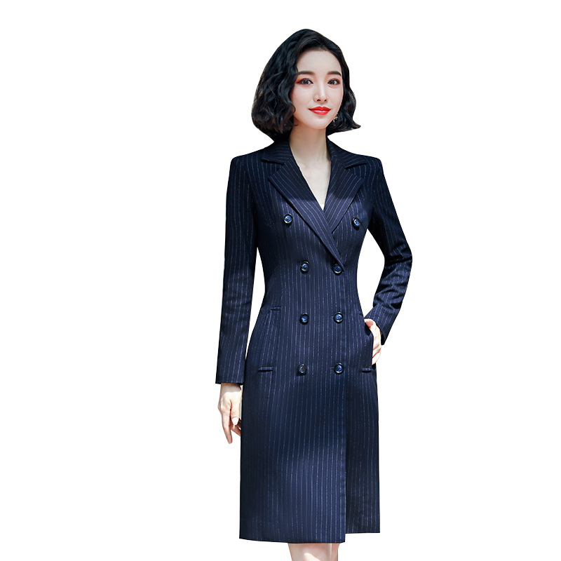 Blazer Dress Woman Autumn And Winter 2019 Blue Stripe Double Breasted Full Sleeve Midi  Dress Jewelry Shop Work Clothes 801951