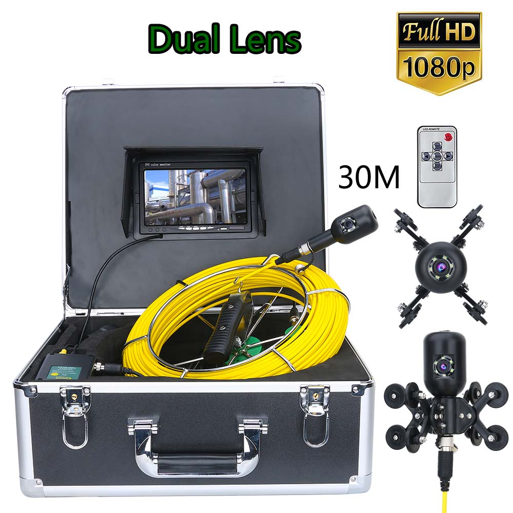 7inch  30M 1080P HD Dual Camera Lens Drain Sewer Pipeline Industrial Endoscope Pipe Inspection Video Camera