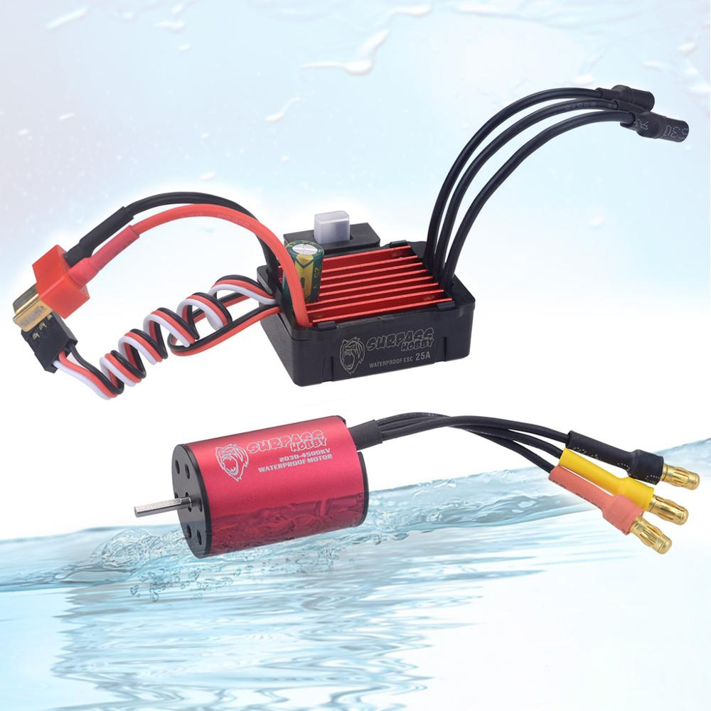 Waterproof Combo 2030 6500KV 7200KV 4500KV 2S Brushless Motor w/ <font><b>25A</b></font> <font><b>ESC</b></font> for 1:20 1:18 GTR/Lexus RC Drift Racing Car image