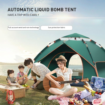4 person family camping tent outdoor ultralight waterproof large camping tents tente Camping Tent1-2/ 3-4 person Tents Hydraulic automatic Waterproof Double Layer Tent Ultralight Outdoor Hiking Picnic tents