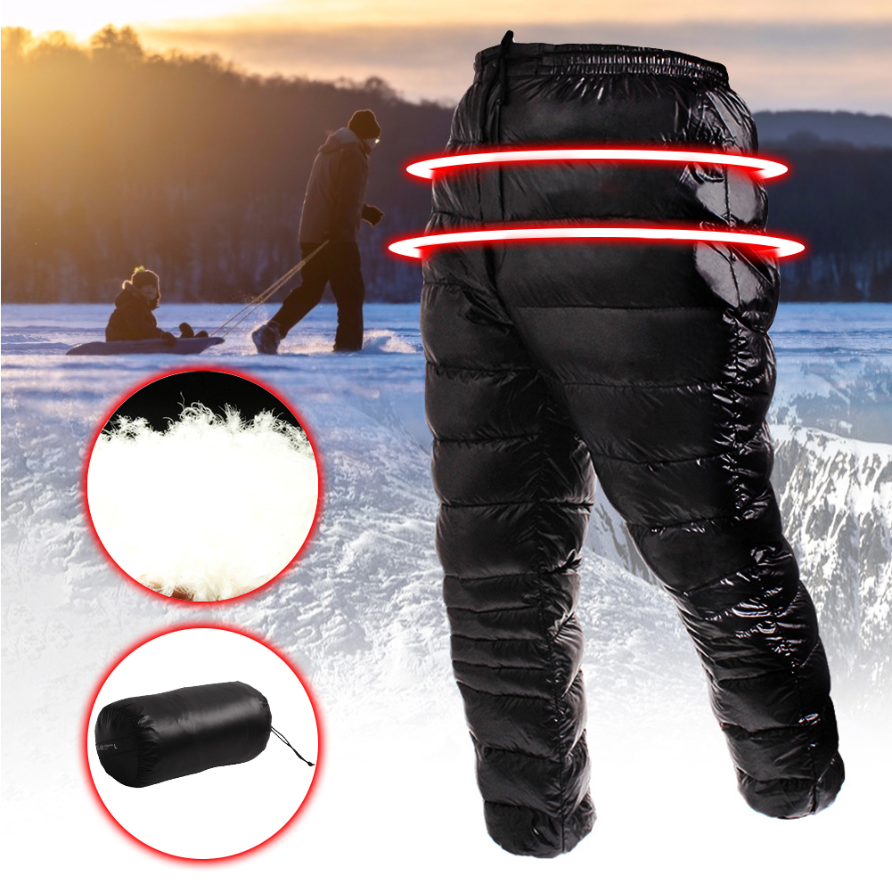 Winter Warm Utility Down Pants Thickened Windproof White Goose Down Pants Skiing Trekking Outdoor Waterproof Breathable Trousers
