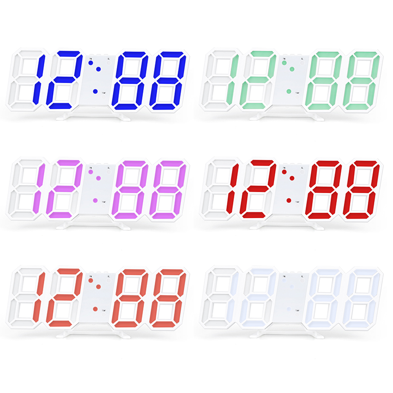 New 3D LED Digital Clock Snooze Bedroom Desk Alarm Clocks Hanging Wall Clock Calendar Thermometer Home Decor Gift image