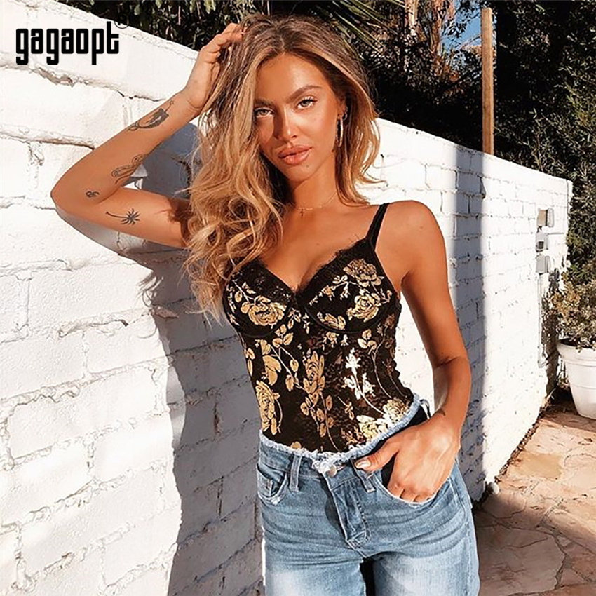 Gagaopt 2019 Flower Print Lace Bodysuit Women Sleeveless Sexy Bodysuit Fashion Skinny Bodysuit Jumpsuit Overalls Sleepwear