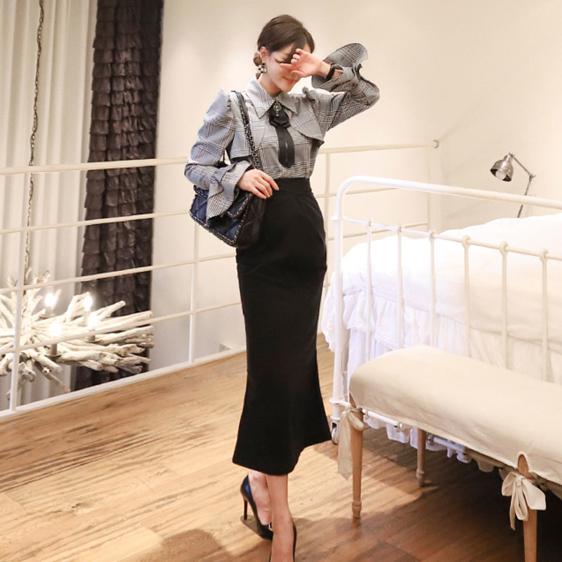 2020 Spring Clothing New Products Korean-style Elegant Plaid Bell Sleeve Shirt High-waisted Sheath Mid-length Fishtail Skirt Two