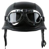 Motorcycle Helmet German PU Leather Style Pilot Goggles Open Face Half Face Retro Helmets Cruise Chopper Biker Pilot DOT M L XL 1