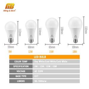 Image 3 - 6pcs/lot LED Bulb E27 9W 12W 15W 18W AC220V Lampada Day White Cold White Warm White High Brightness Lamp For Bedroom Living room