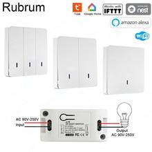 جهاز استقبال RF 433 التيار المتناوب 220 فولت من Rubrum جهاز استقبال ذكي للمنزل مزود بالواي فاي مفتاح ذكي للتحكم عن بعد تطبيق ذكي للحياة/Tuya يعمل مع تطبيق Alexa Google