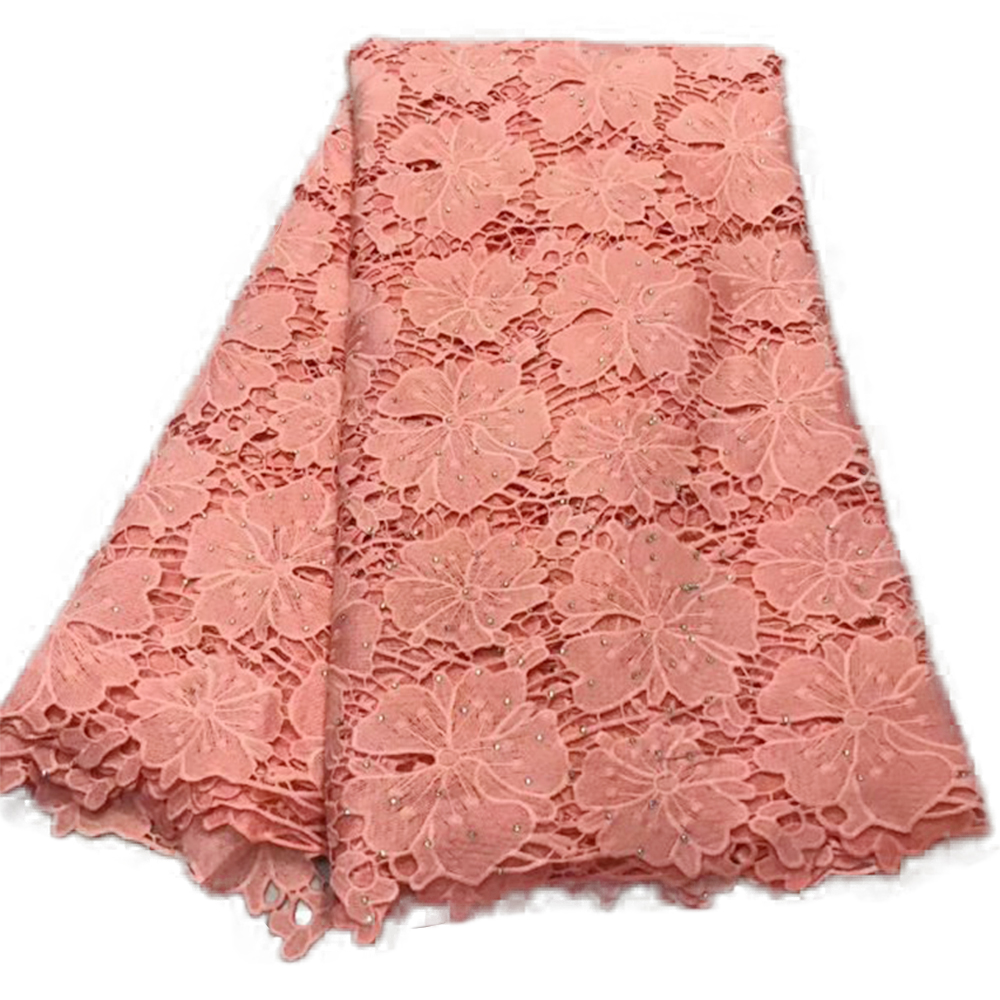 Pink Cotton Dry Lace Fabric Tulle Nigerian Guipure Lace With Stones 2019 High Quality African Lace Fabrics For Evening Dress